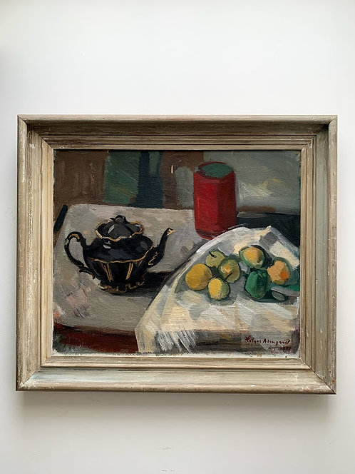 Holger Almqvist 1907-1978, still life with teapot and apples, dated 1948