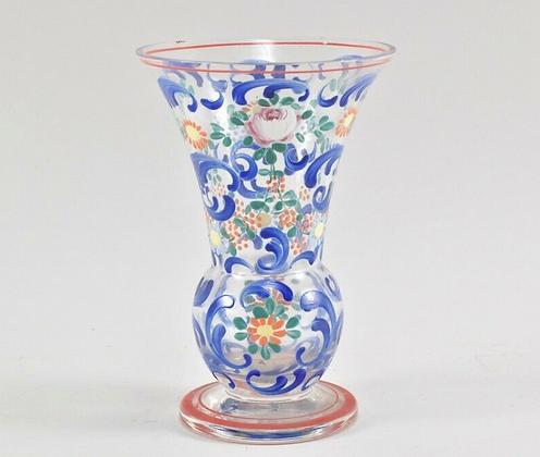 Art Deco Glass Vase, Enamel Paint