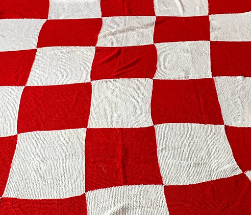 Vintage Hand Knitted Blanket, Red & White.