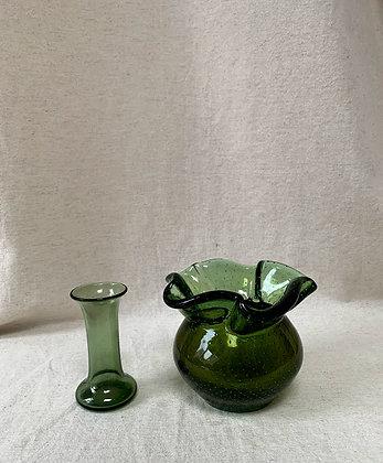 Green Art Glass Vase & Candlestick