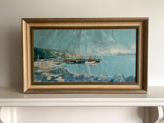Framed Oil, Fishing Port, 1950s