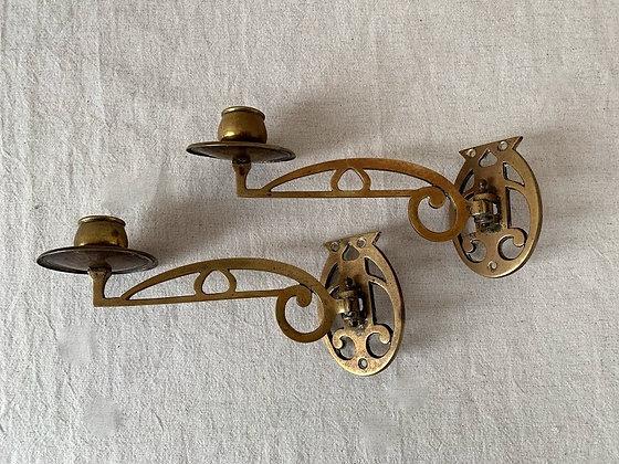 Pair of Art Nouveau Brass Piano Sconces
