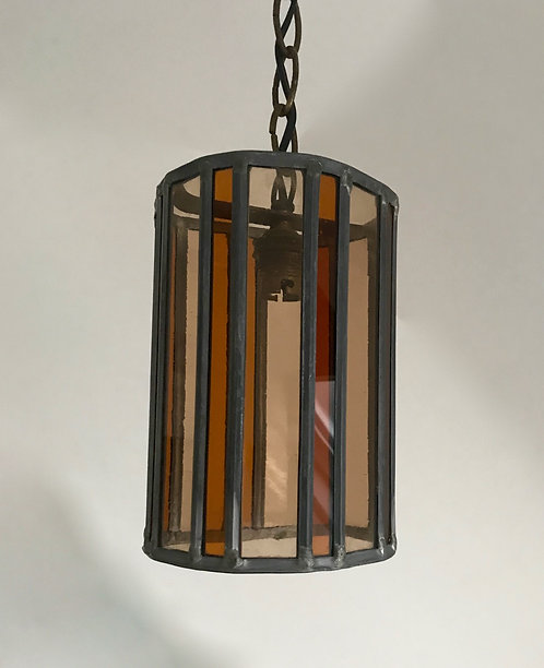 Vintage French Stained Glass Leaded Pendant Light.