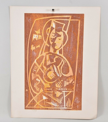 Colour woodcut, indistinctly signed & dated '60