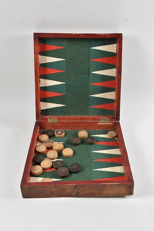 Old game box, wood veneered, with playing stones, 19th century