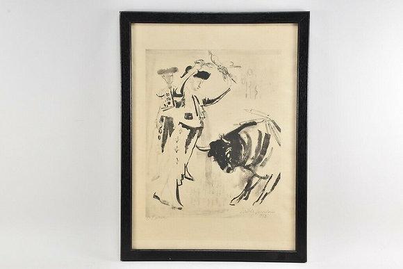 Framed Bull Fighting Print, 1950s, Signed by Artist.