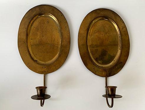 Pair of Vintage Brass Sconces, German