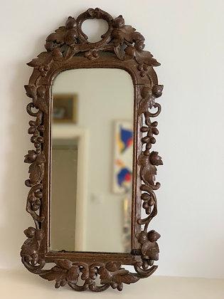 Antique German Black Forest Mirror Carved Oak