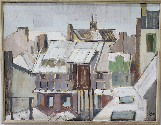 Oil on Board, environment, signed and dated 1955, Alf Lindom