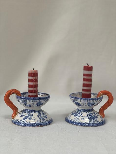 Pair of Ceramic Candlesticks - Gouda