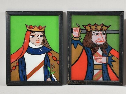 Pair of Painted Glass Folk Art