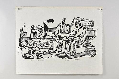Woodcut, hand-signed Gustav Grund , dated 1960