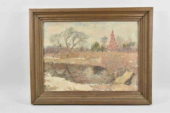 Framed Oil Painting, Russian, 1988