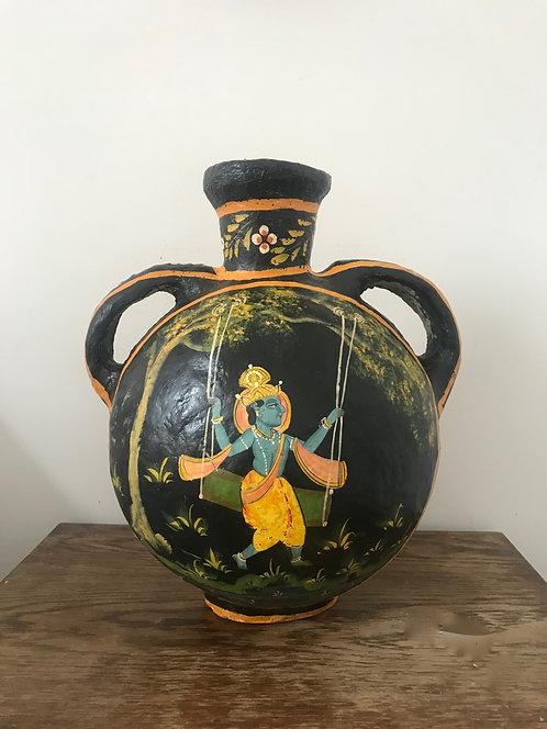 Large Vintage Paper (Papier) Mache Hand Made & Hand Painted Indian Pot Urn Vase