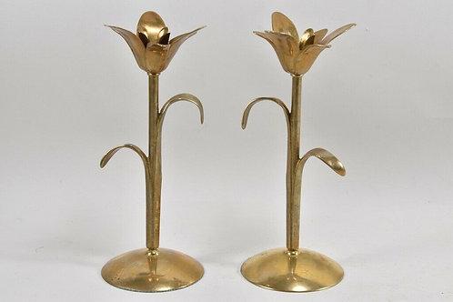 Pair of Brass Floral Candlesticks