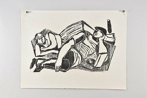 Woodcut, hand signed Gustav Grund, 1959