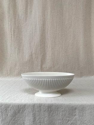 Wedgwood Etruria & Barlaston 1950's White Oval Ribbed Vase Bowl