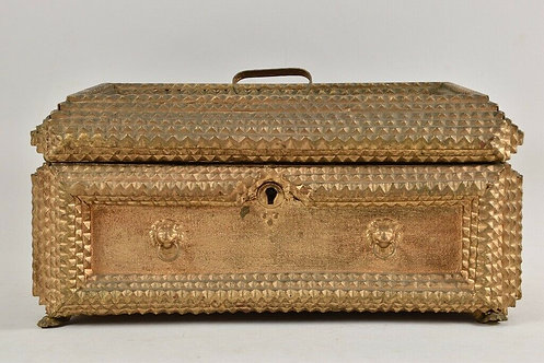 Wooden Box With Gold Paint