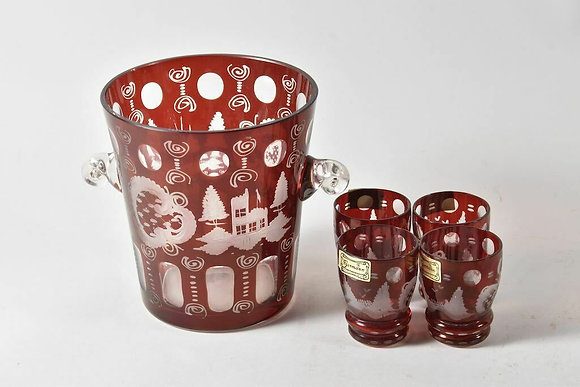 Czech Wine Cooler with Matching Shot Glasses