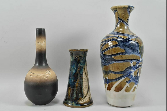 Set of Three Ceramic Vases, Asian, 1970s