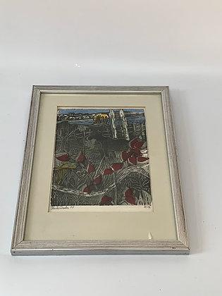 Mid Century Framed Woodcut, 'Moose', by Fritz Grahn