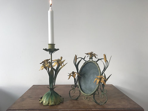 Tole Candlestick and Matching Frame