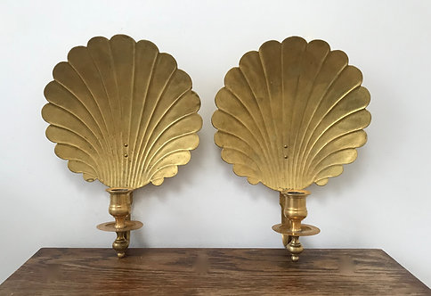 Pair of Shell Brass Sconces
