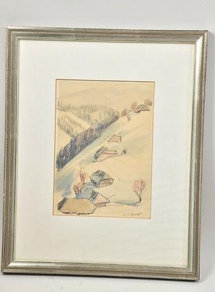Painting Watercolour/pencil, Alpine Landscape winter, DAT. '78