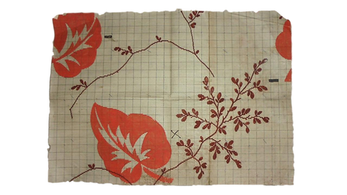 Beautiful Antique Hand Painted French Fabric Design - Dated 1849