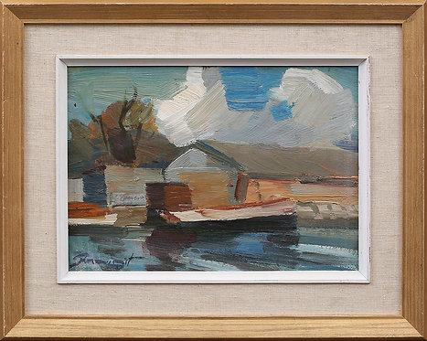 Framed Oil, Harbour, by Hans Rosenquist