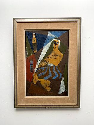 'Hera', Woodcut With Oil Paints, Janus Jahn 1951