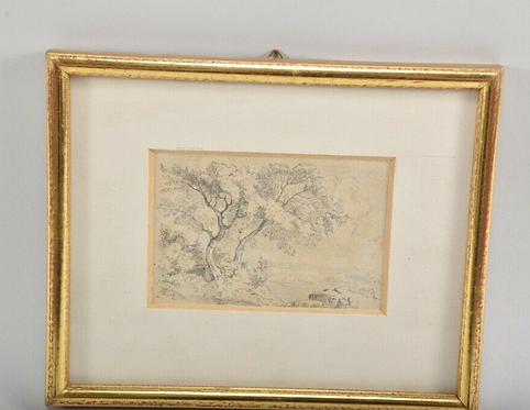 Landscape Munich School, 19th century Pencil drawing