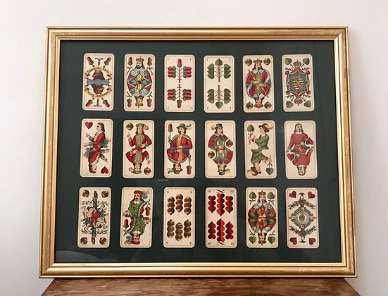Framed 1930s German Playing Cards