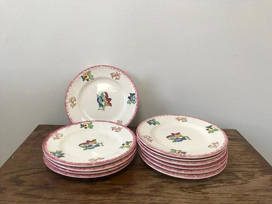 Vintage French Side Plates Set of 11