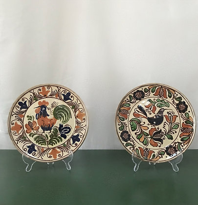 Pair Of Antique Earthenware Hungarian Wall Plates