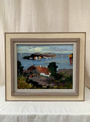 Framed Oil on canvas, Archipelago picture, signed T Ahlm.