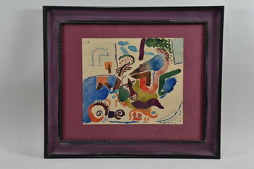 Framed Abstract Painting by Werner Borsdorf, 1968