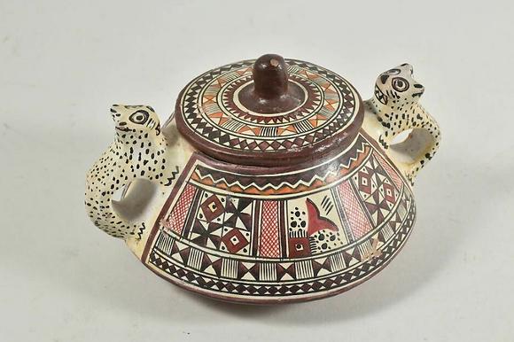 Ceramic Lidded Pot Mexican, Vintage
