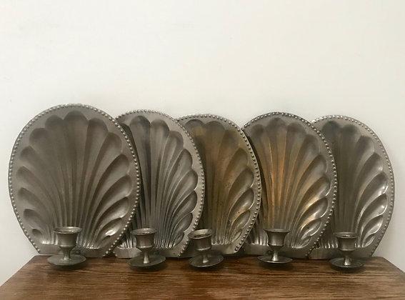 A Set Of Five Tin Shell Sconces