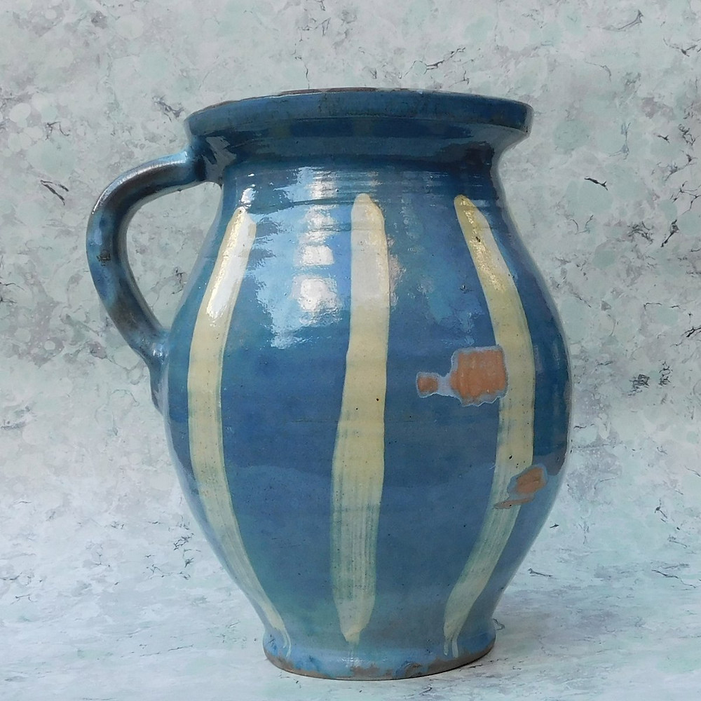 Vintage Blue and White Stripe Pitcher.