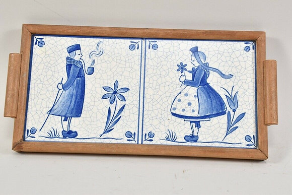 Vintage Tray, Blue & White Ceramic