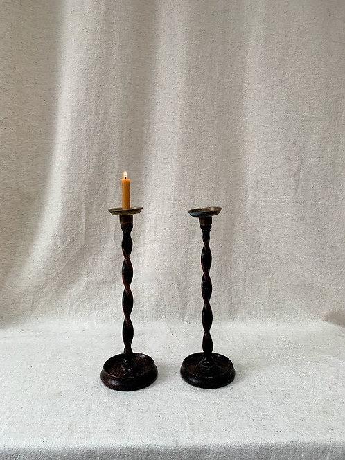 Pair of Wooden Barley Twist Candlesticks