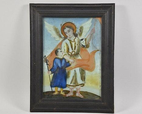 Archangel Raphael & Tobias, Reverse Glass, Broken Glass