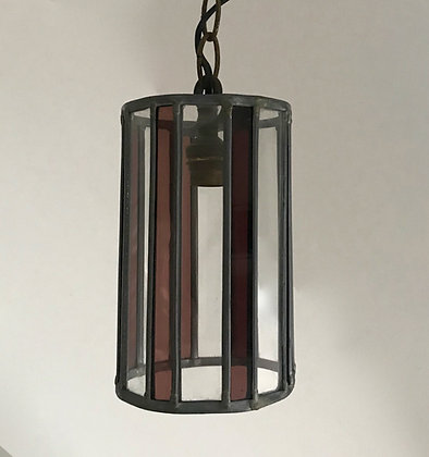 Vintage French coloured stained glass leaded pendant hanging light lampshade.