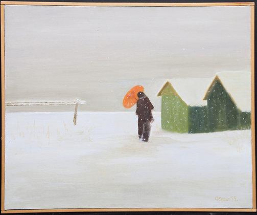 Framed Oil, House In The Snow