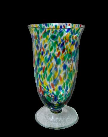 Mid Century Celery Splatter Glass Vase