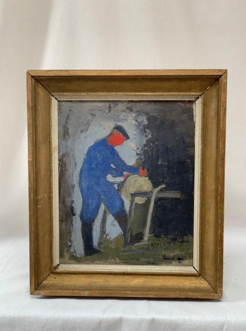 Figure on grindstone, oil on panel, signed Linnaeus