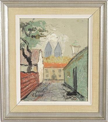 Framed Oil, Lund, by Wolmer Jakobsen