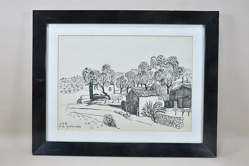 'On The Pyrenees Road', Ink Drawing '85