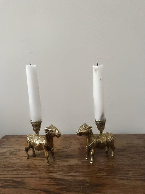 Pair of Ram Brass Candlesticks